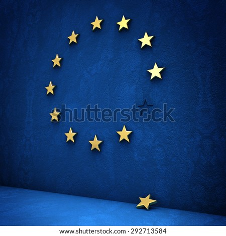 leave the euro: golden star fallen - stock photo