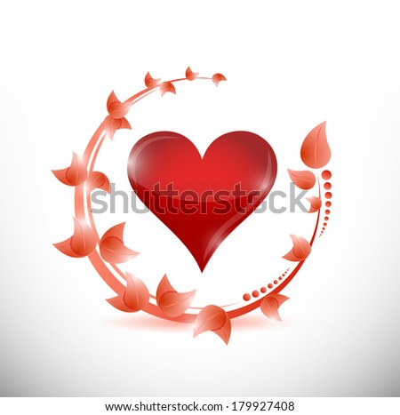 leaves and red heart illustration design over a white background