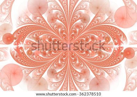 Leaves and seeds. Abstract monochrome floral ornament on white background. Symmetrical pattern. Stylish fractal design in pink and light orange colors. - stock photo