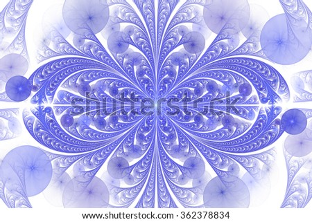 Leaves and seeds. Abstract monochrome floral ornament on white background. Symmetrical pattern. Stylish fractal design in blue color. - stock photo