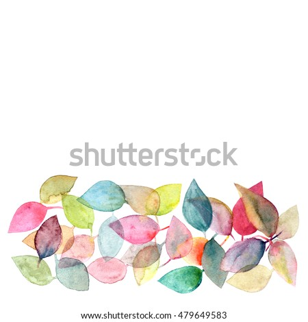 Autumn Card Watercolor Design Border With Leaves Decorative Floral
