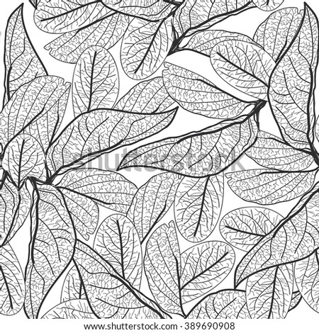 Leaves contours on white background. floral seamless pattern for fabric, wallpaper, pattern fills, web page background, surface textures. hand-drawn.