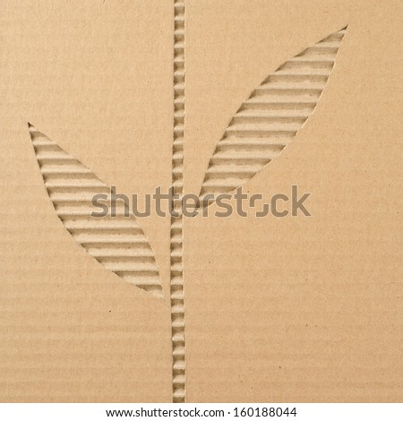 Leaves cut out on a corrugated cardboard    - stock photo