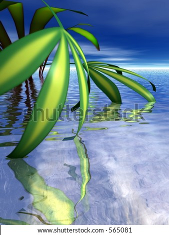 Leaves dipping into water - stock photo