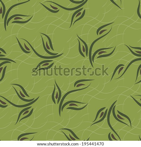 Leaves. Foliage. Seamless pattern. Green background. - stock photo