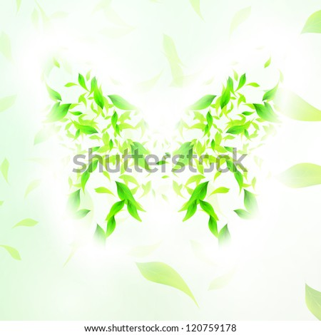 Leaves form a butterfly abstract shape, season illustration