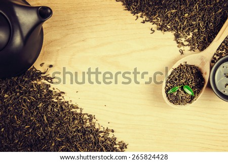 Leaves of green tea. - stock photo