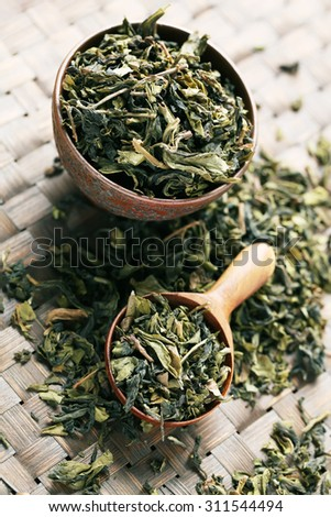 leaves of green tea with wooden Spoon.
