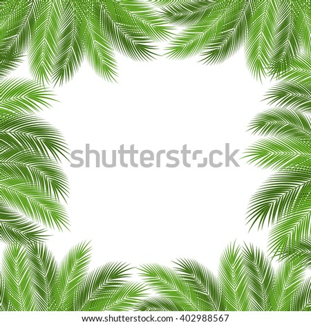 Leaves of palm tree on white background as a template. illustration.