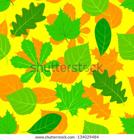 Leaves of various trees are chaotically located. The composition forms a seamless background. EPS version is available as ID 131237807. - stock photo