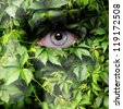 Leaves on man face - stock photo