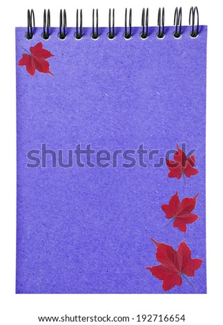 leaves on  ring binder blue book isolated on white background, clipping path - stock photo
