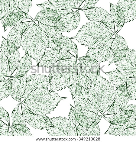 Leaves seamless pattern. Green leaves. The contours on white background. Hand drawn. Nature illustration.