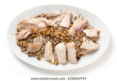 Lebanese chicken with spiced rice, a traditional dish for celebrations - stock photo