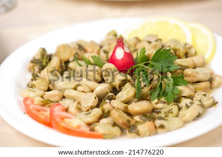 Lebanese food of Cooked Broad Beans  - stock photo
