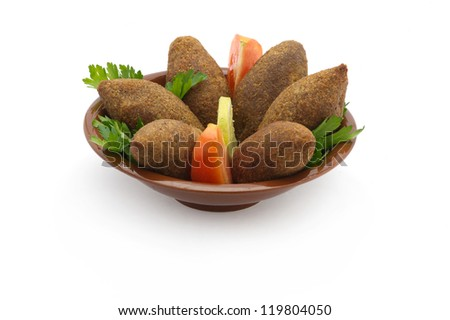 Lebanese Food of Fried Kibe Isolated on white - stock photo