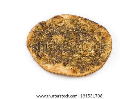 lebanese Manoushe , Baked bread of thyme with olive oil on top - stock photo