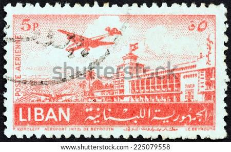 LEBANON - CIRCA 1952: A stamp printed in Lebanon shows Beirut Airport, circa 1952.  - stock photo
