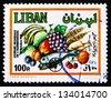 LEBANON - CIRCA 1982: a stamp printed in the Lebanon shows Produce, World Food Day, circa 1982 - stock photo