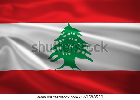 Lebanon flag blowing in the wind. Background texture. - stock photo