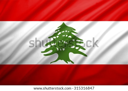 lebanon flag blowing in the wind. Background texture.