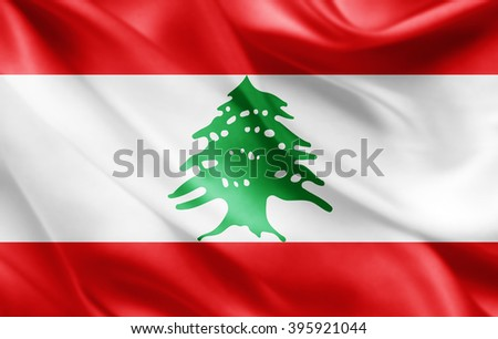 Lebanon flag of silk
