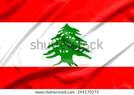 lebanon flag on soft and smooth silk texture