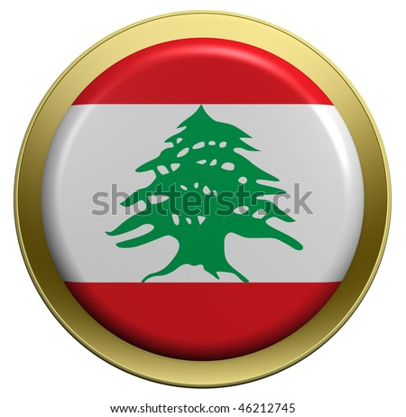 Lebanon flag on the round button isolated on white. Computer generated 3D photo rendering.