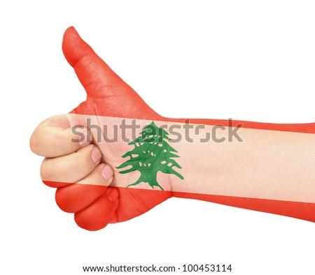Lebanon flag on thumb up gesture like icon - stock photo