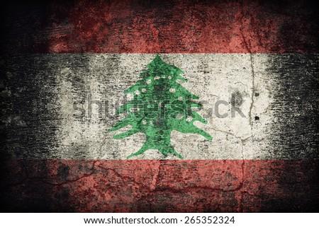 Lebanon flag pattern on dirty old concrete wall texture ,retro vintage style - stock photo
