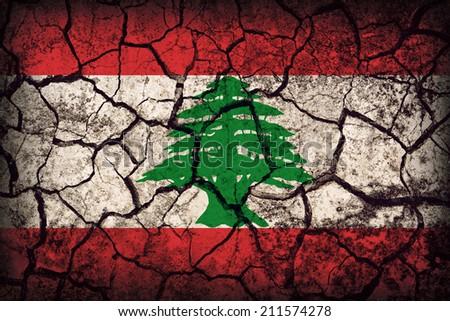Lebanon flag pattern on the crack soil texture ,retro vintage style - stock photo