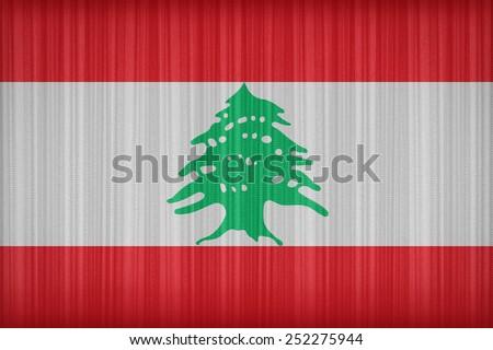Lebanon flag pattern on the fabric curtain,vintage style - stock photo