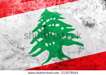 Lebanon Flag with a vintage and old look - stock photo
