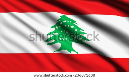 Lebanon flag with fabric structure  - stock photo