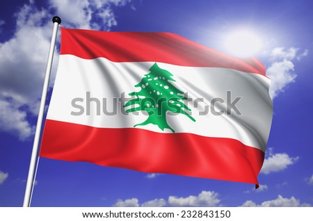 Lebanon flag with fabric structure against a cloudy sky - stock photo