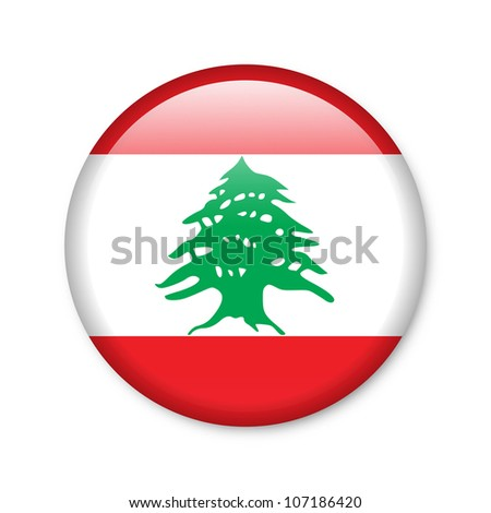 Lebanon - glossy button with flag