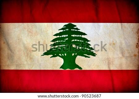 Lebanon grunge flag - stock photo