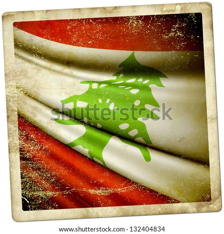 Lebanon Grunge sticker - stock photo