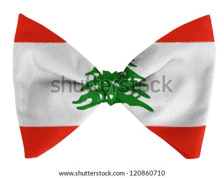 Lebanon. Lebanese flag  on a bow tie - stock photo