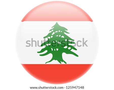 Lebanon. Lebanese flag . Round glossy badge - stock photo