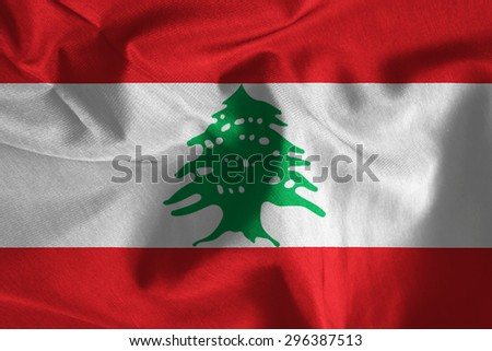 Lebanon national flag background fabric texture