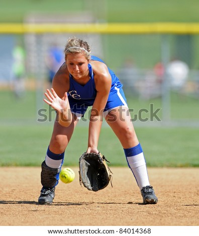 LEBANON, PA - MAY 9: Cedar Crest High School softball player Sarah Lebo fields a grounder on defense during a game against Manheim Township May 9, 2011 in Lebanon, PA