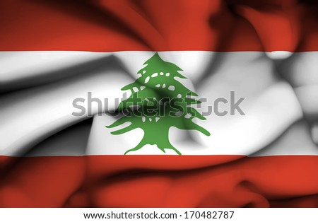 Lebanon waving flag