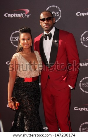 LeBron James and Savannah Brinson at The 2013 ESPY Awards, Nokia Theatre L.A. Live, Los Angeles, CA 07-17-13 - stock photo
