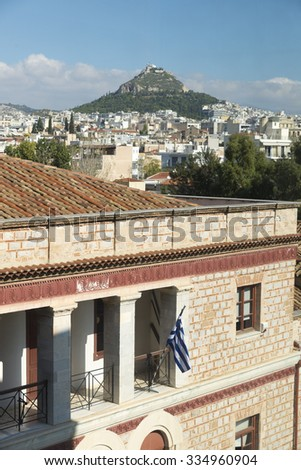 Lecabetus Hill also known as Lykabettos or Lykavittos, is a Cretaceous limestone hill in Athens  - stock photo