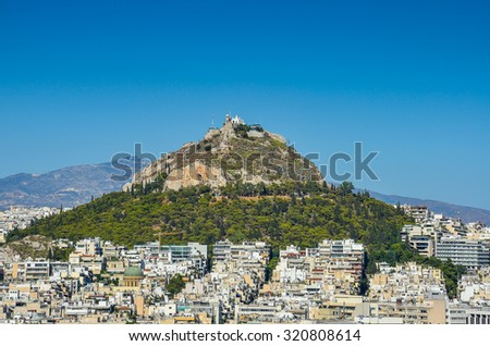 Lecabetus Hill  also known as Lykabettos or Lykavittos, is a Cretaceous limestone hill in Athens at 300 meters (908 feet) above sea level. Attica - Greece - stock photo