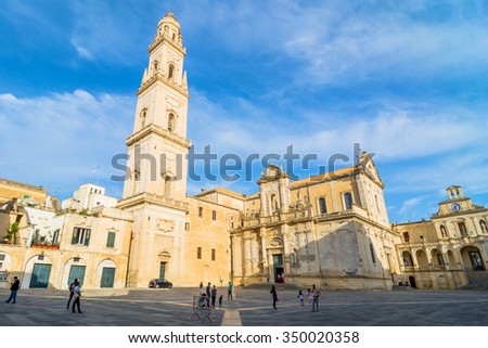 LECCE, ITALY - MAY 16, 2015: day view of Piazza del Duomo square with Cathedral in Lecce, Italy. Lecce is the main city of the Salentine Peninsula, a sub-peninsula at the heel of Italy.