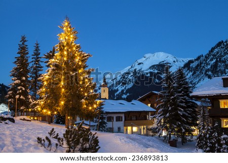 LECH, AUSTRIA - JANUARY 10, 2014: Lech is a popular ski resort and winter holiday destination in Europe; January 10, 2014, Lech, Austria