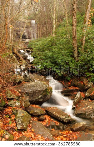 LeConte Creek with Rainbow Falls in Background, Great Smokey Mountains National Park - stock photo