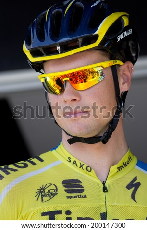 LECTOURE, FRANCE - JUNE 20  Portrait of the cyclist champion Nicolas Roche at the departure of the first stage of the Route du Sud, on June 20, 2014 in Lectoure, France   - stock photo